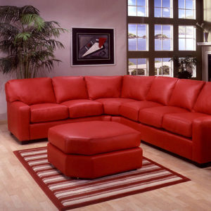 Albany Leather Sectional Red Room