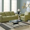 Carlten Leather Sofa Green Room
