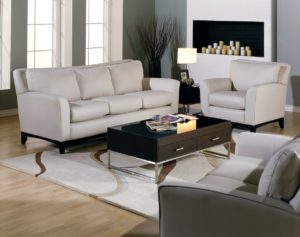 India Leather Sofa White and Gray Room