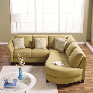 Alula Leather Sectional Yellow Room