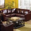 Corissa Leather Sectional Brown Room