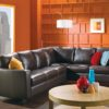 Brow Leeds Leather Sectional Orange Room