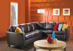 Brow Leeds Leather Sectional Orange Room