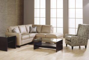 Leeds Leather Sectional Tan Room