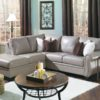 Meadowridge Leather Sectional Gray Room