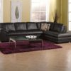 Miami Leather Sectional Black Yellow Room