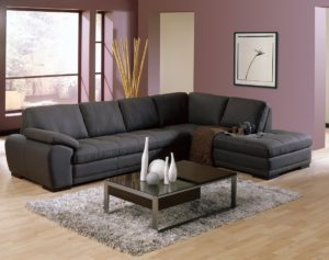 Miami Leather Sectional Black Purple Room