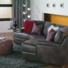 Morehouse Leather Sectional Black Room