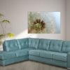 Pachuca Leather Sectional Blue Room