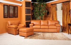 Prescott Leather Sofa Tan Room