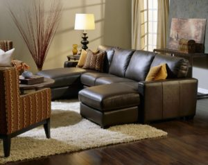 Westend Leather Sectional Brown Room