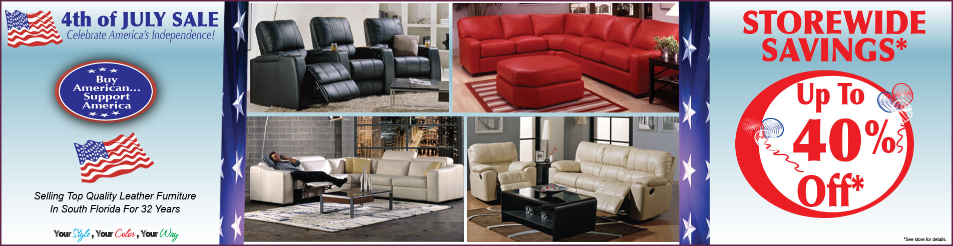 4th Of July Sale At Leather Express Furniture