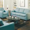 Carlten Leather Sofa Blue Room