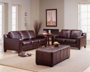 Reed Leather Sofa Brown