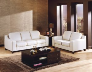 Reed Leather Sofa White
