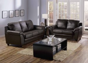 Sirus Leather Sofa Black Room