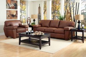 Prescott Leather Sofa Brown Room
