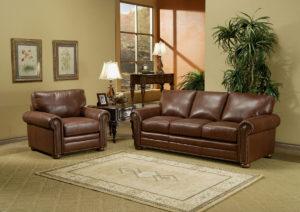 Savannah Leather Sofa Room