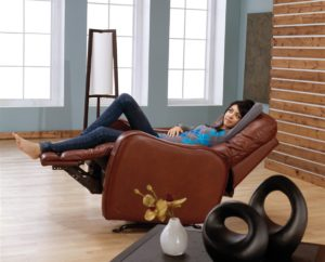Yates Leather Recliner Open Room