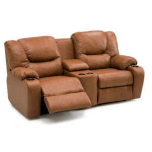 Dugan Leather Reclining Loveseat Console