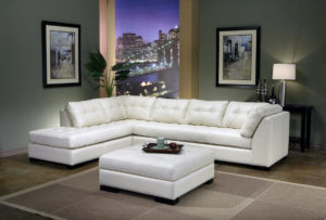 Newport Leather Sectional Room