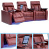 wills home theater seating with led lighting, tray and tablet holder